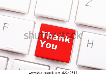 thanks or thank you concept with word on computer key or button - stock photo