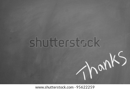 thanks title written with chalk on blackboard - stock photo