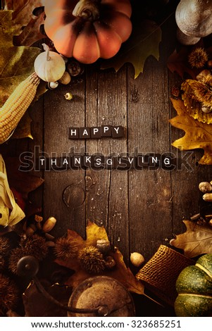Thanksgiving background. Autumn fruit with Thanksgiving letters. Thanksgiving dinner - stock photo