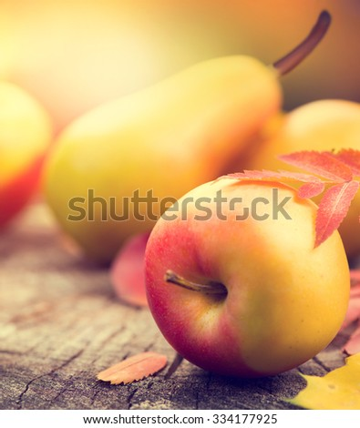 Thanksgiving background. Beautiful vintage styled autumn fruits and colorful leaves over wooden table - stock photo