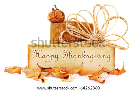 Thanksgiving card isolated on white background - stock photo