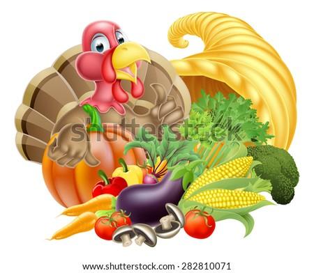 Thanksgiving cartoon turkey bird with cornucopia full of produce - stock photo