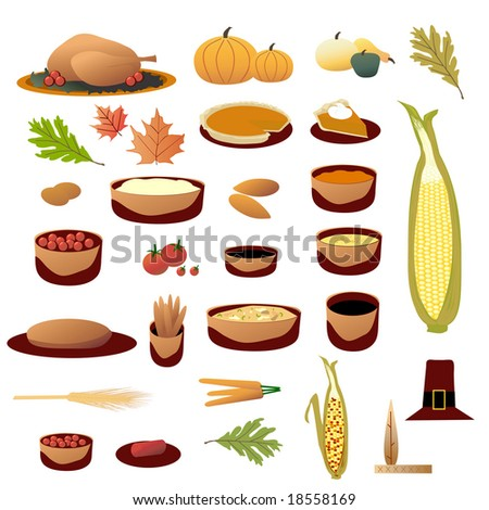 Thanksgiving Collection is original artwork. - stock photo