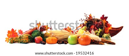 Thanksgiving cornucopia filled with autumn fruits and vegetables spread out to create a border. - stock photo