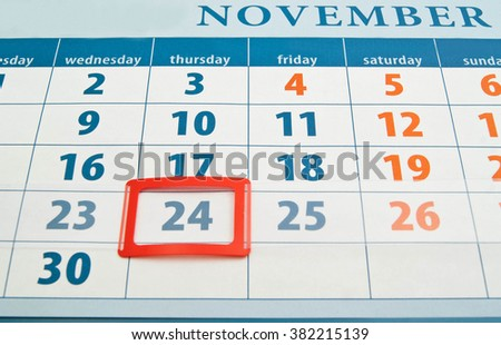 Thanksgiving Day date on calendar background closeup - stock photo