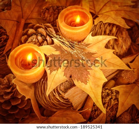 Thanksgiving day decoration, beautiful natural decor for autumnal holiday, old dry maple leaves, pine cones, warm candle light - stock photo