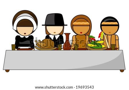 Thanksgiving day dinner Illustration - stock photo