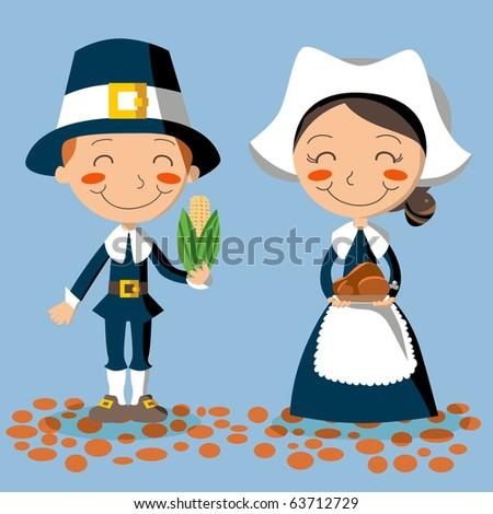 Thanksgiving Day Pilgrim Couple - stock photo