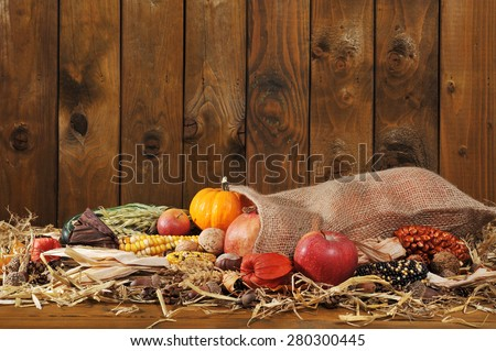 Thanksgiving - different pumpkins, maize-cob, apples and grain in jute bag on straw in front of old weathered wooden board - stock photo