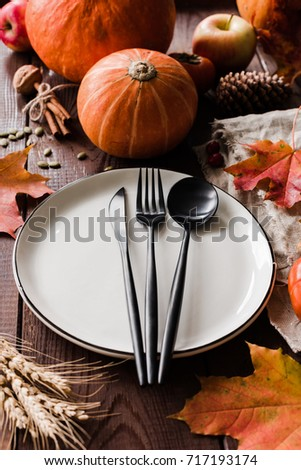 Thanksgiving Dinner Table Setting Pumpkins Wheat Stock Photo (Royalty Free) 717193174 - Shutterstock & Thanksgiving Dinner Table Setting Pumpkins Wheat Stock Photo ...