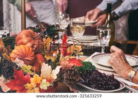 Thanksgiving: Focus On Centerpiece Autumn Decoration - stock photo