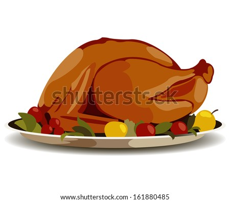 Thanksgiving fried turkey clip-art - stock photo