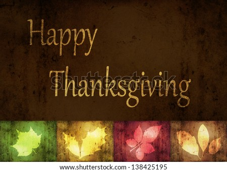 Thanksgiving Greetings, an abstract illustration with grunge autumn leaves. - stock photo