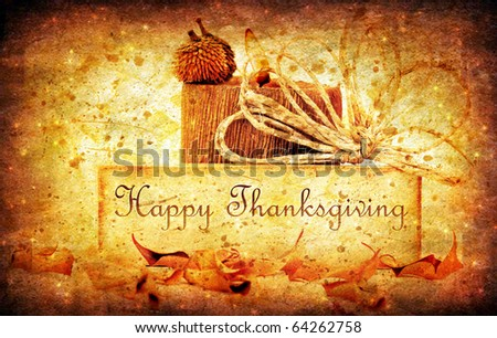 Thanksgiving holiday background with candle & dreamy stars - stock photo