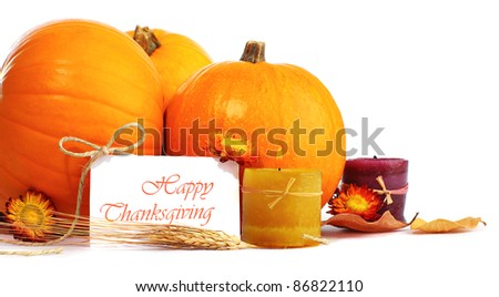 Thanksgiving holiday, pumpkin border still life decoration with candles isolated over white background, greeting card with text space, harvest concept - stock photo