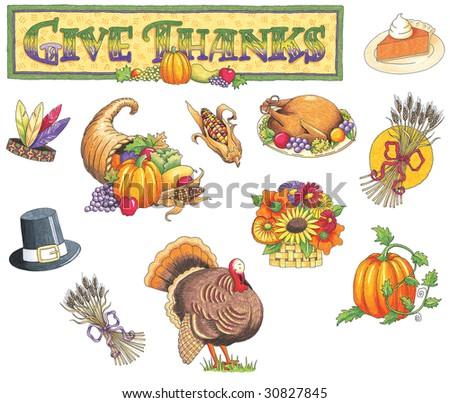Thanksgiving Illustrations - stock photo