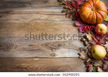 Thanksgiving Or Fall Background With Orange Pumpkins And Leaves On Rustic Table Greeting Card