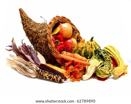 Thanksgiving or harvest cornucopia - stock photo