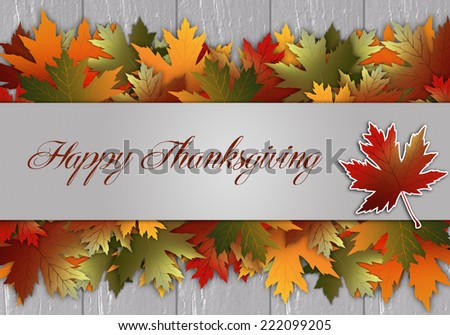 Thanksgiving postcard with leaves - stock photo