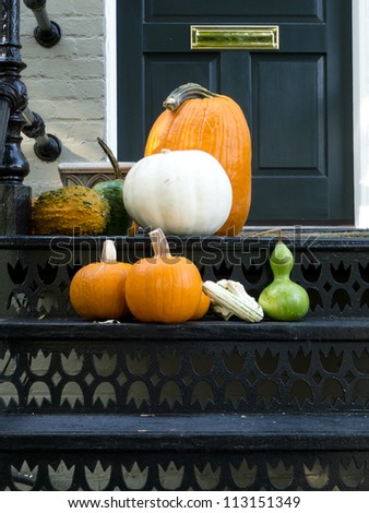 Thanksgiving ready home doorway - stock photo
