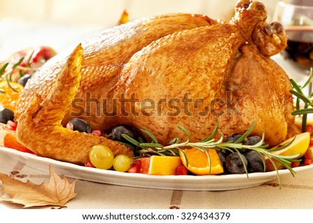 Thanksgiving Roast Turkey Dinner - stock photo