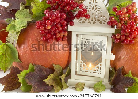 Thanksgiving still life, pumpkins with white lantern and viburnum berries - stock photo