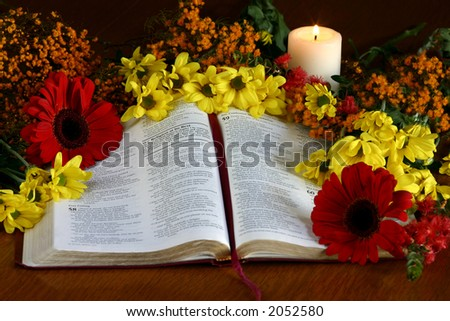 Thanksgiving themed bible. - stock photo