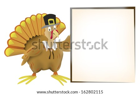 Thanksgiving turkey holding a blank frame for copy space. Isolated on white background - stock photo