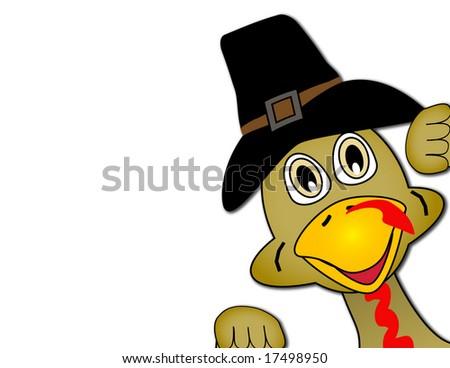 Thanksgiving turkey peeking out of image - stock photo