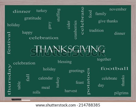 Thanksgiving Word Cloud Concept on a Blackboard with great terms such as dinner, harvest, holiday, turkey and more. - stock photo