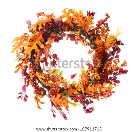 Thanksgiving wreath isolated over white