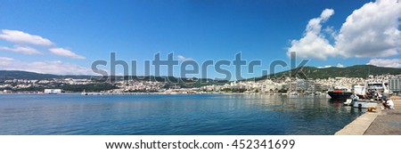 Thasos island greece Kavala city cityscape panorama