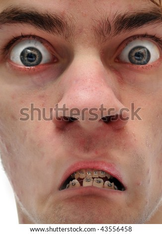 That's not a frown, that's an upside down smile! - stock photo