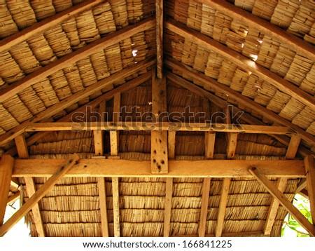 Thatch Tropical Hut Cottage Interior - stock photo