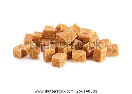 Thatched brown sugar cube isolated on white - stock photo