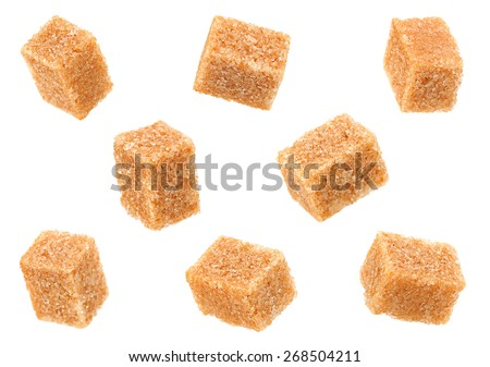 Thatched brown sugar cube set isolated on white
