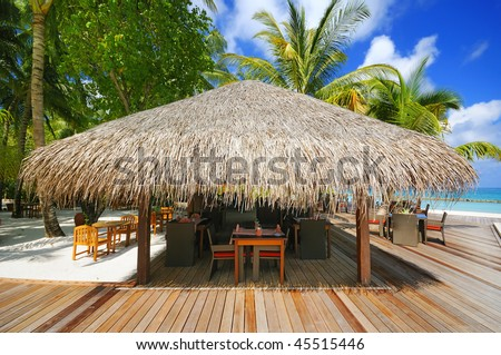 thatched house - stock photo