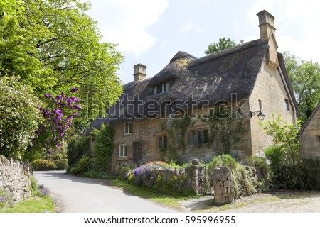 English Stone Cottage traditional english cottage stock images, royalty-free images