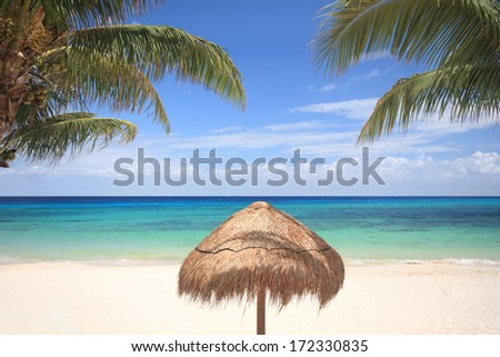 Thatched umbrella and palm trees on a tropical beach, Cozumel, Mexico - stock photo