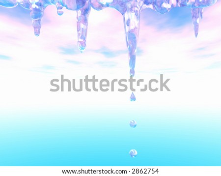 Thawing icicles. Falling drops of water. Spring. - stock photo