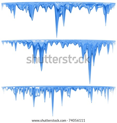 Thawing icicles of a blue shade with water droplets - stock photo