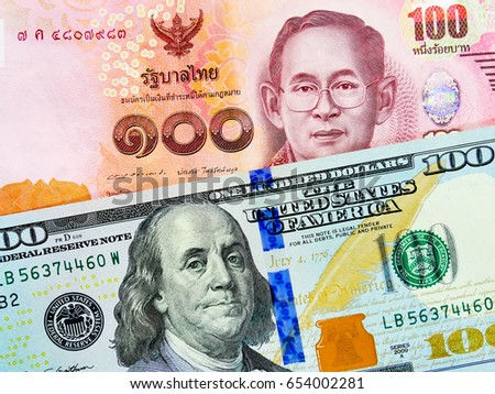 THB and US dollar bank notes concept business background. Close up view of US Dollar and THB bills. currency exchange rate. Background with money american dollar and Thai baht banknote