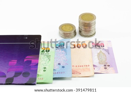 THB Cash , coin with money thailand on book bank