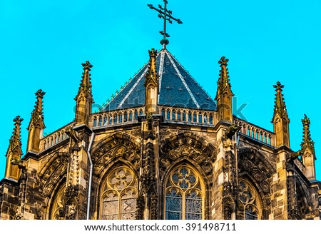 The Aachen Cathedral, also High Aachen Cathedral, or the Aachener Kaiserdom, Germany. The Aachen chapel was the church of coronation for thirty German kings and twelve queens. - stock photo