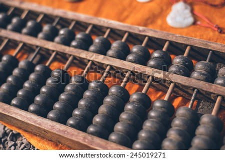 The abacus, ancient tools China count - stock photo
