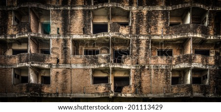 The abandoned brick building - stock photo