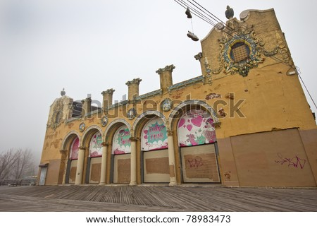The abandoned, historic, Dreamland Roller Rink on the Coney Island boardwalk - stock photo