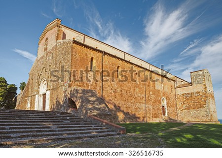 The Abbey of San Giovanni in Venere (Italian: St. John in Venus) is a medieval catholic church and monastery, Romanesque and Gothic style, in the comune of Fossacesia, Abruzzo, Italy  - stock photo