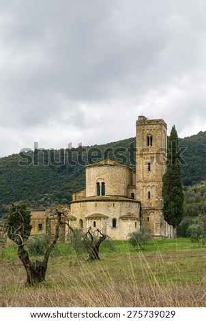 The Abbey of Sant Antimo is a former Benedictine monastery in the comune of Montalcino, Tuscany.