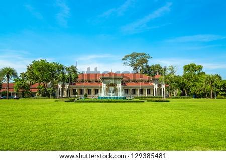 The Abhisek Dusit Throne Hall at Vimanmek Royal Palace in Bangkok, Thailand. - stock photo